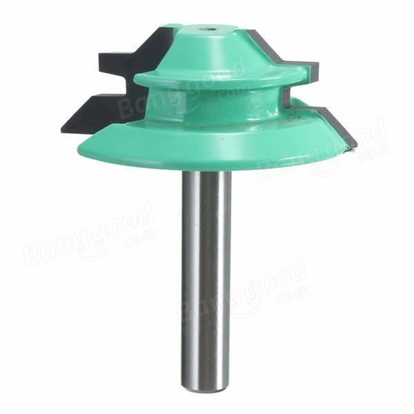 1/4 Inch Shank 45 Degree Lock Miter Router Bit 1-1/2 Inch Cutting Diameter Tenon Cutter