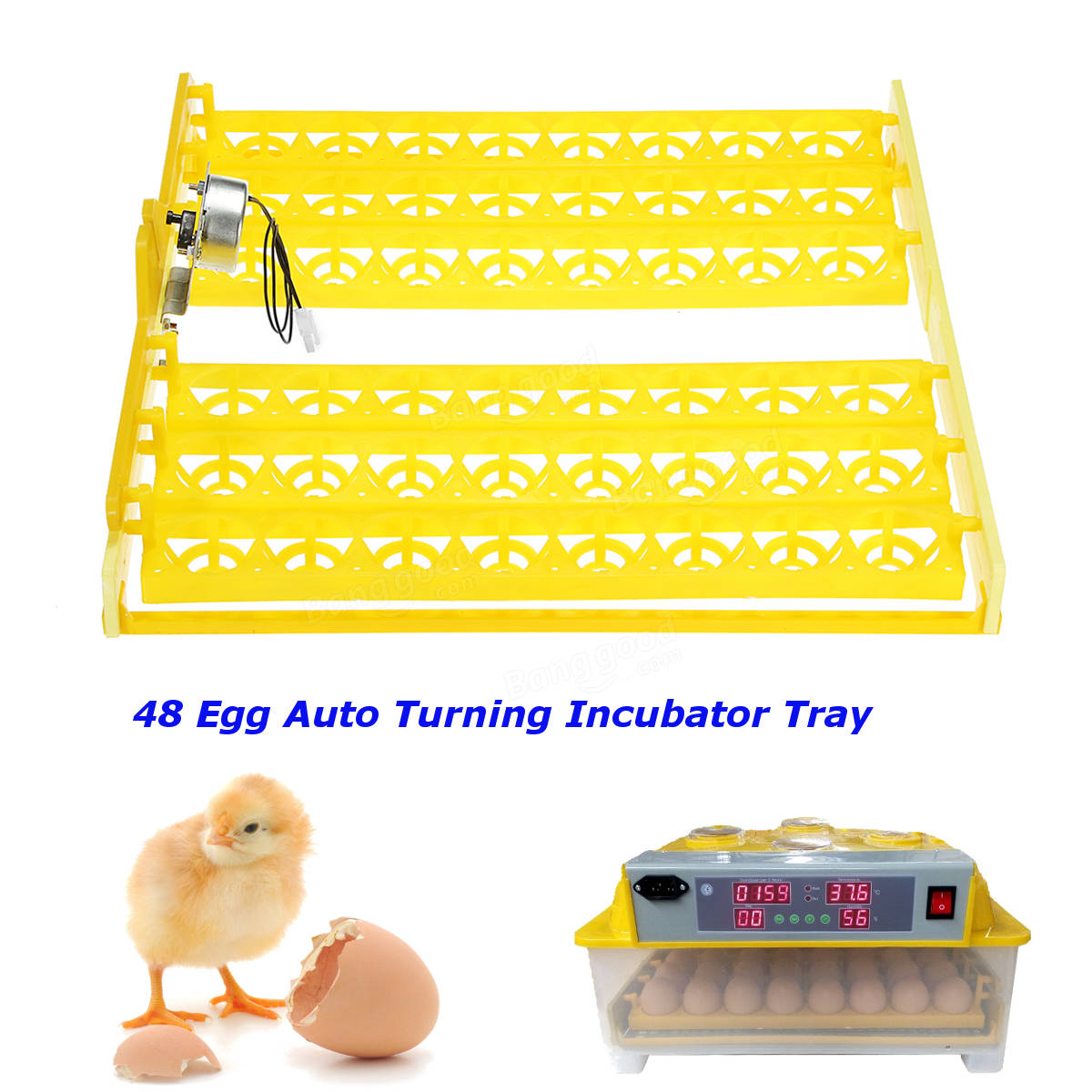 48 Incubator Automatic Quail Bird Poultry Eggs Turner Tray With 220V Motor Farm Tool