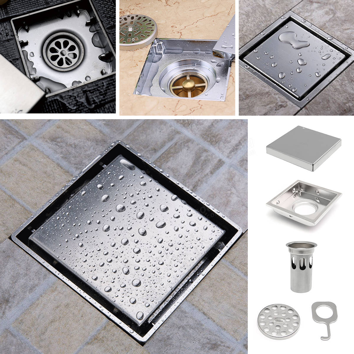Bathroom Shower Floor Drain 304 Stainless Steel Square Shower Drain Strainer 110mmx110mm