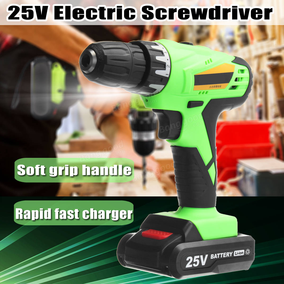 25V Cordless Power Drill  Lithium-Ion Battery Rechargeable Electric Hammer Screwdriver Kit
