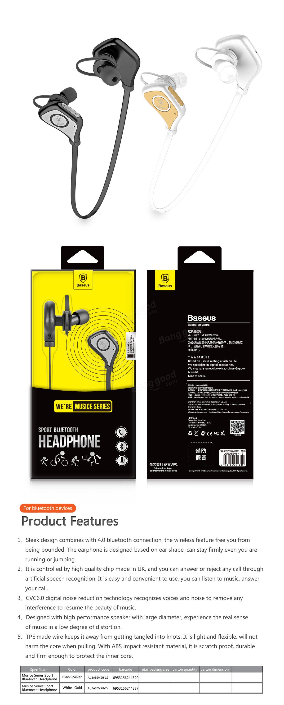 BASEUS Sports Bluetooth Headphone Earphone Wireless Stereo Headset Universal For iPhone 6S Samsung