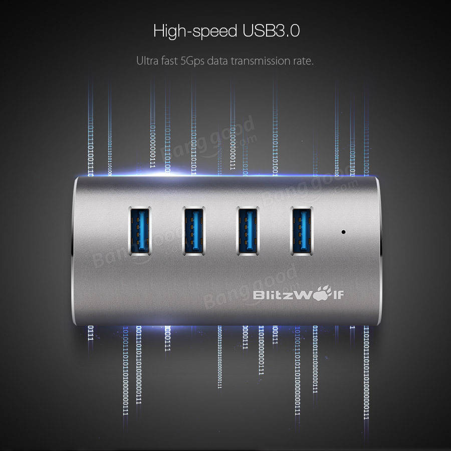 BlitzWolf® BW-H1 4-Port USB 3.0 High Speed Portable Aluminium Alloy Hub For Computer Laptop