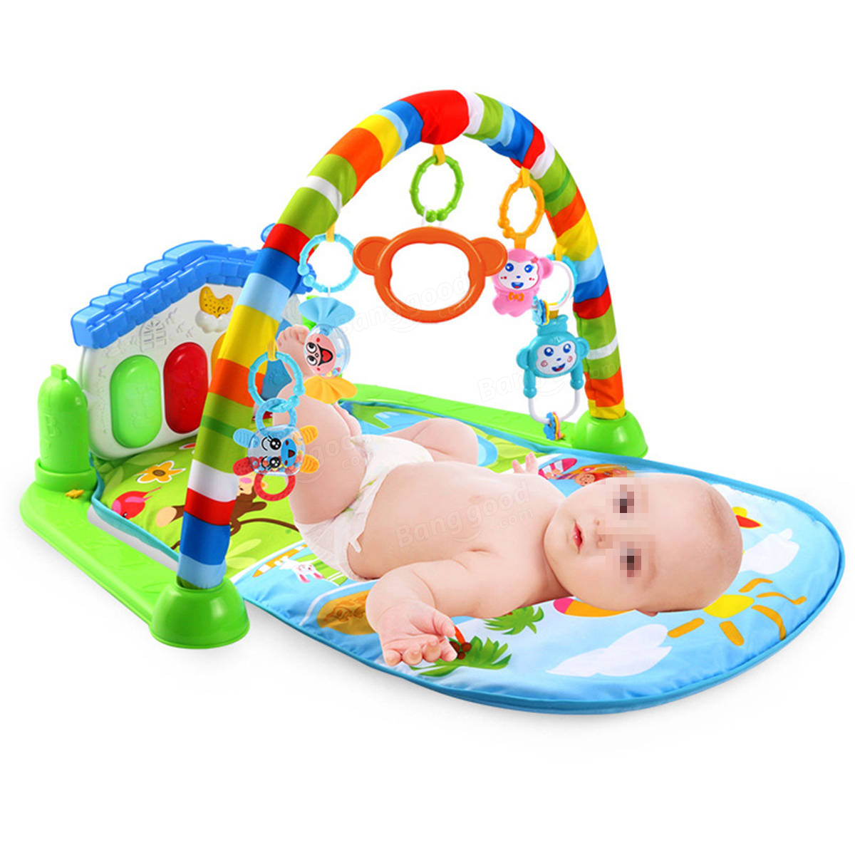 3 in 1 Baby Infant Gym Soft Playmat & Fitness Music Lights Fun Piano Carpet Gift