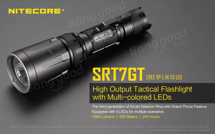 Nitecore SRT7GT XP-L HI V3 1000LM Tactical Multi-Colored LEDs Flashlight