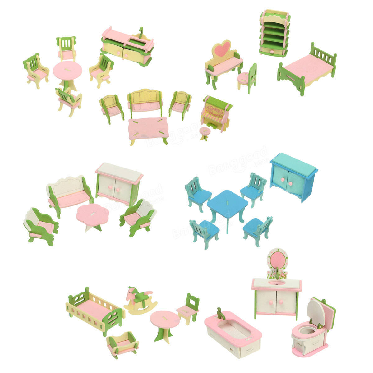Wooden Diy Three Dimensional Jigsaw Puzzle Dollhouse Set Furniture For Barbie Sale