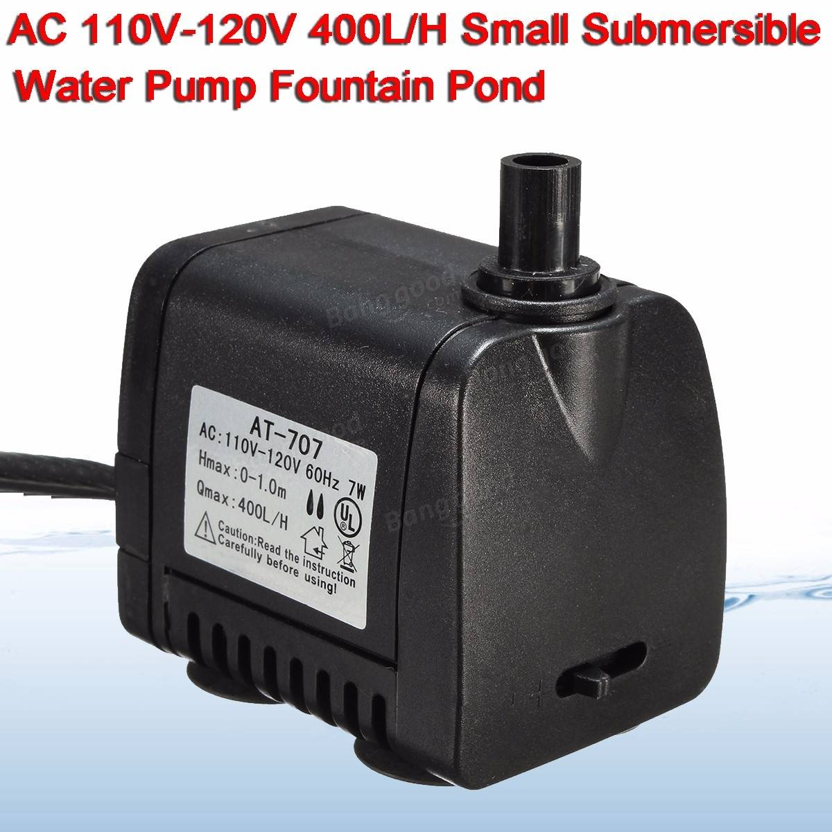 Ac 110v 120v 400l h small submersible water pump fountain for Small pond pumps for sale