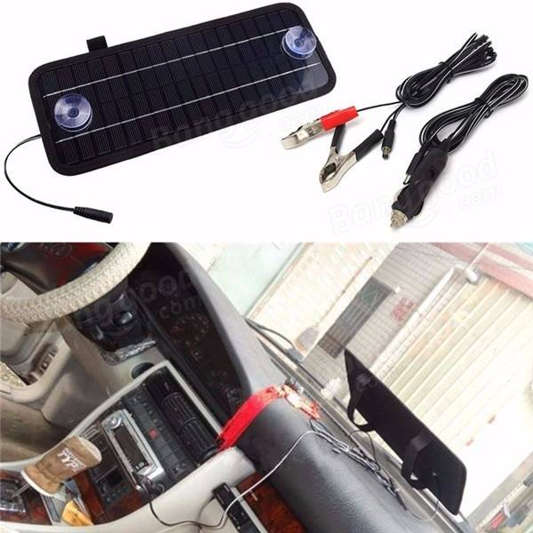 Portable Solar Panel Power Battery Charger Backup For Car Boat Automobile 12V 5W