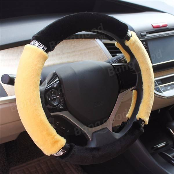 Car Auto Diamond Crystal Plush Cute Steering Wheel Cover Winter Autumn Grip 38cm