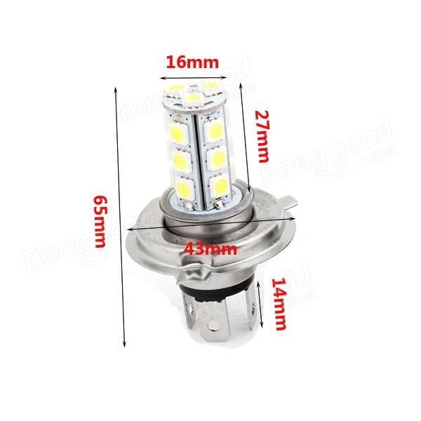 H4 5050 18SMD Car White LED Fog Light Daytime Running Light Bulb