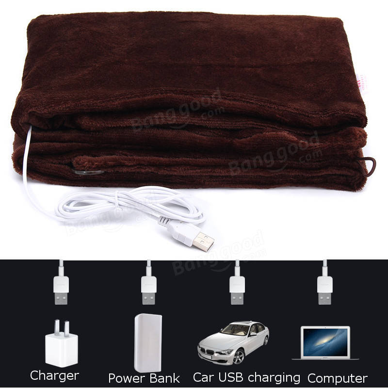 USB Powered Soft Heated Shawl Electric Warming Heating Blanket Winter Pad