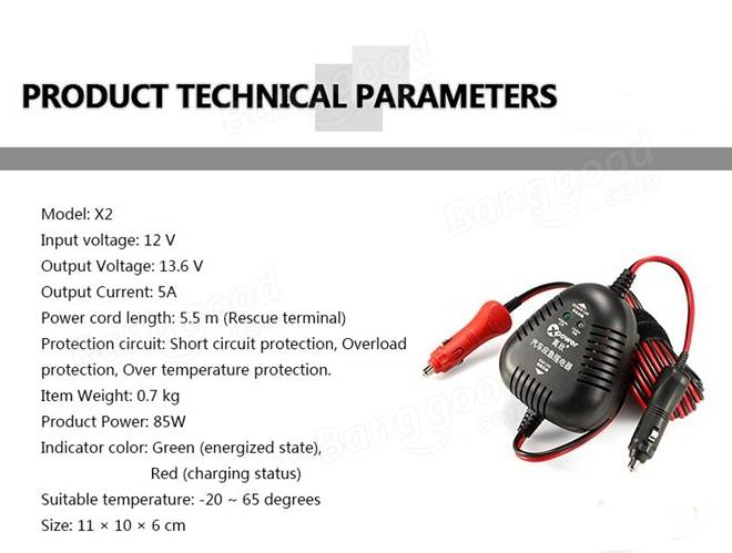 X2 Car to Car Charger Emergency Power Supply DC 12V