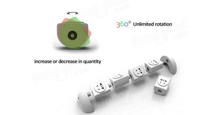 Creative 360 Degree Rotation Desktop Modular 4 Outlet Power Strip Socket With USB Port Lightning