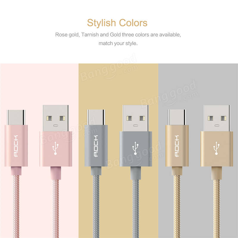 ROCK C2 Type C To A 5V 2A Nylon Braided Cable Charging Cable Data Transmission Line