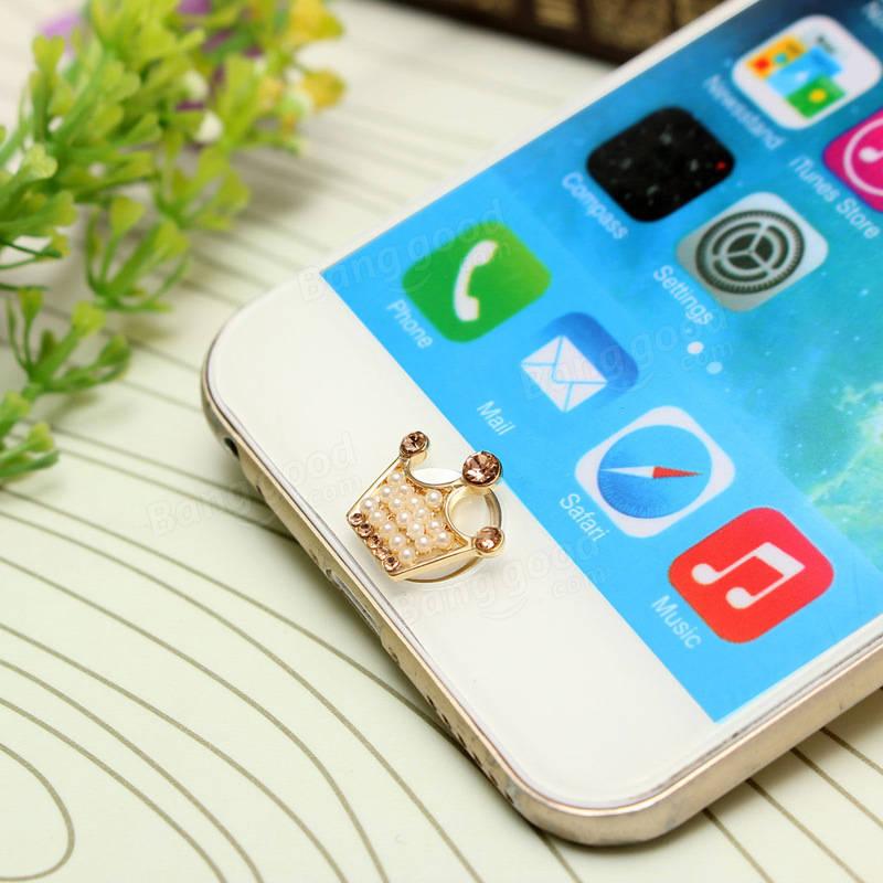 iPhoneのiPadのiPodのための3Dかわいいパールクラウンのホームボタンステッカー