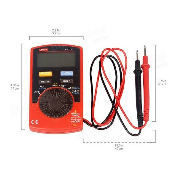 UNI-T UT120C Ultra-portable Auto Ranging Auto-off Digital Multimeter Capacitance Resistance AC/DC Current Voltage Meter Tester