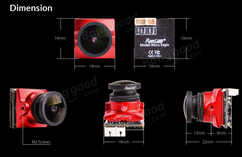 RunCam Micro Eagle 1/1.8 CMOS 800TVL Global WDR 16:9/4:3 Switchable FPV Camera for RC Drone
