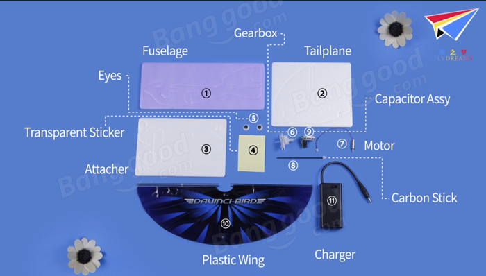 DIY Electric Dove Super Capacitor Wing Flapping Bird Toy Gift