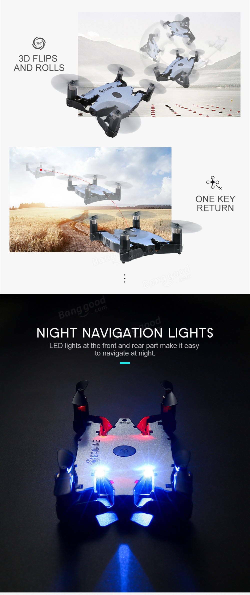 Eachine E57 WiFi FPV Selfie Drone With 720P HD Camera Auto Foldable Arm Altitude Hold RC Quadcopter