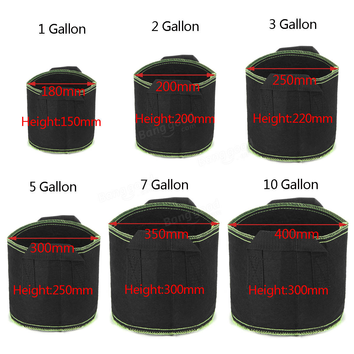 Black Fabric Aeration Grow Pots Breathable Planter Container Bags 1/2/3/5/7/10 Gallon