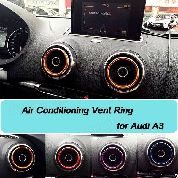 4pcs/Set Cars Modification Decoration Air Conditioning Vent Ring for Audi A3 304Stainless Steel