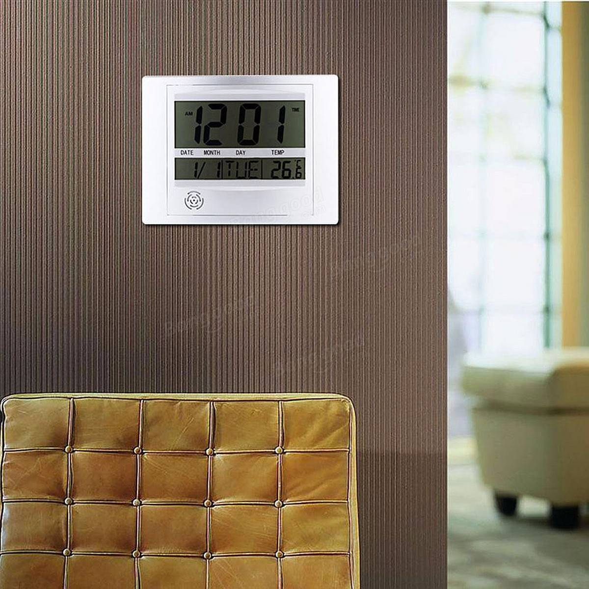 Self Setting Digital LCD Calendar Wall Clock Indoor Thermometer Home Decoration