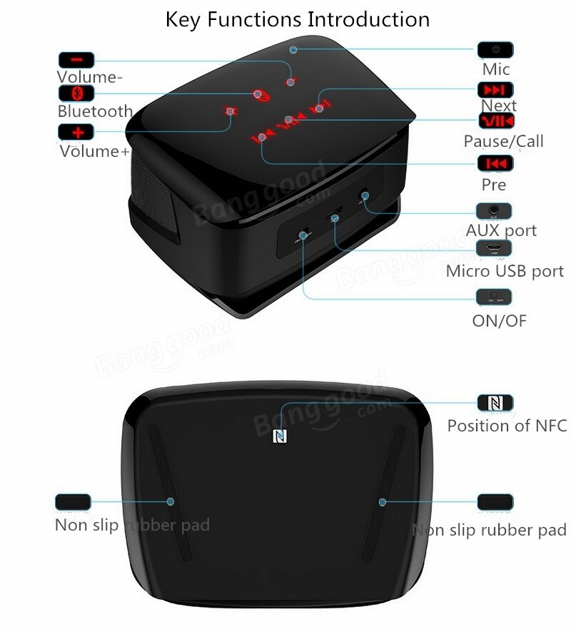 Mini Wireless Bluetooth Speaker Portable Subwoofer Speaker With HD Mic Support NFC Connection