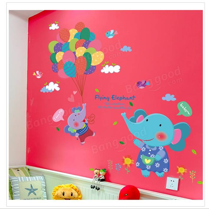 Lovely Kids Balloon Elephant Wall Sticker Cartoon Anmials Room Decor