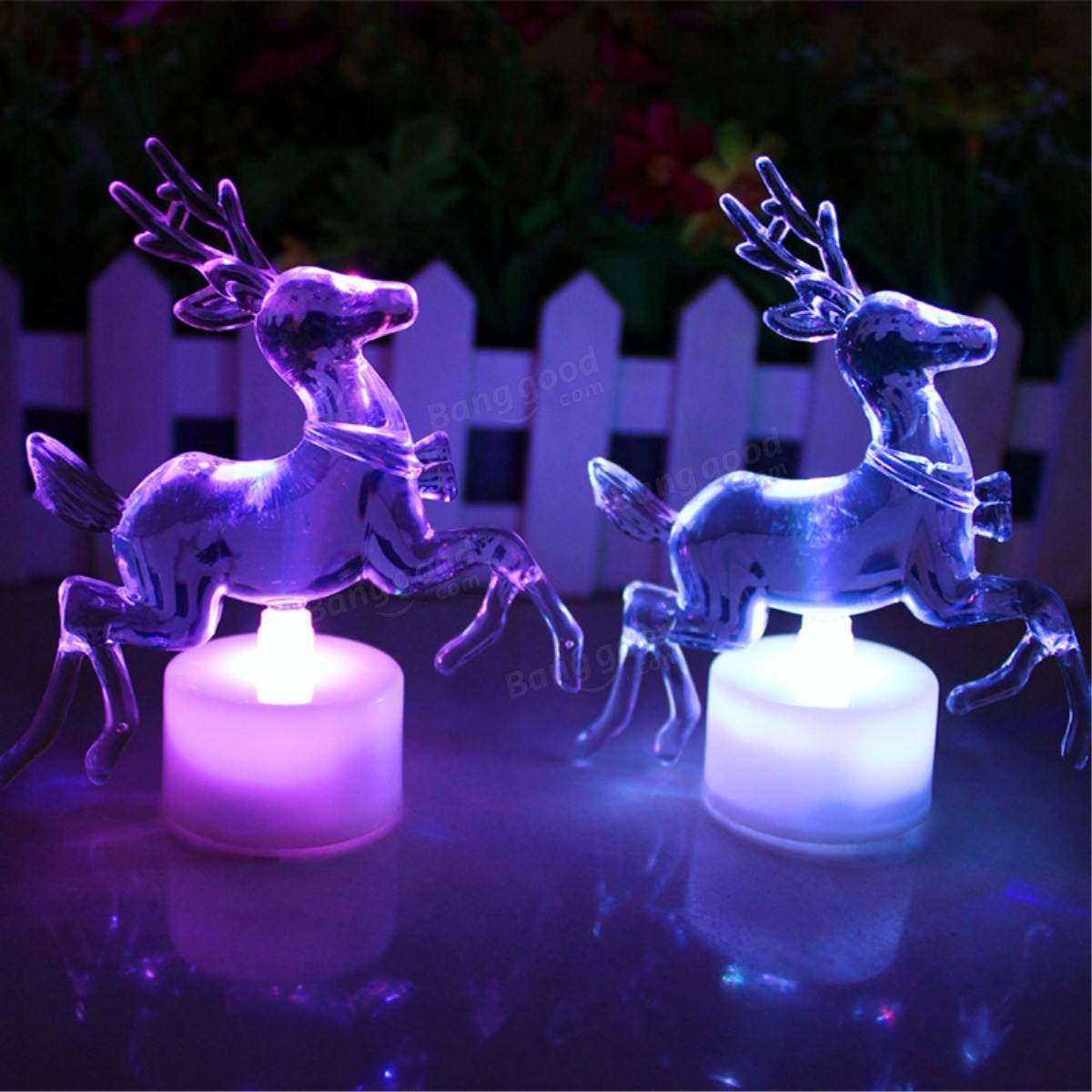 Acrylic Christmas Xmas Transparent Reindeer Color Changing Led Night Light Lamp Home Decor Sale