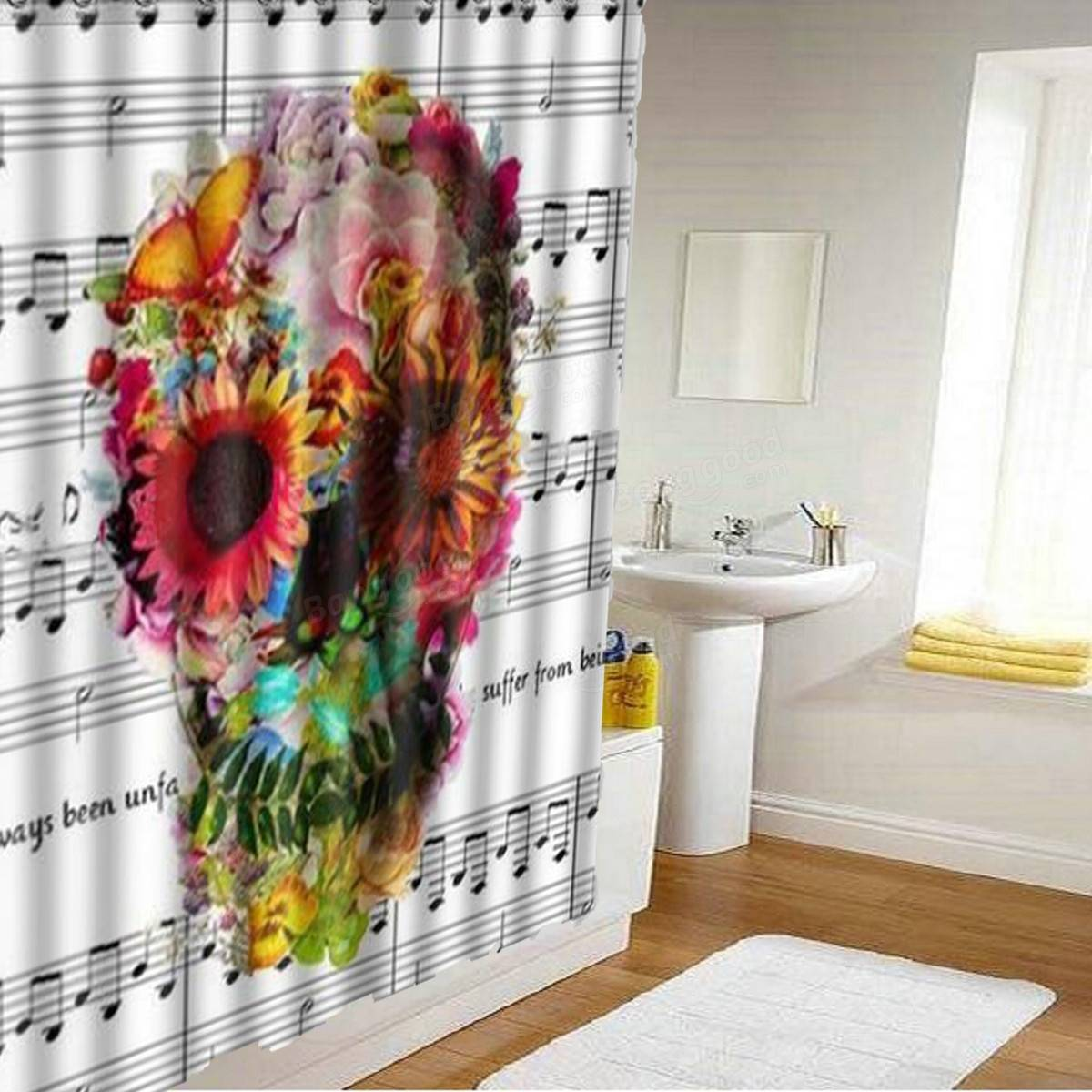 Bathroom with shower curtain