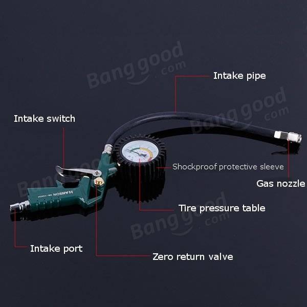 0-220PSI Car Tire Pressure Guage Pneumatic Tire Gun Multifunction Tyre Inflator Tool