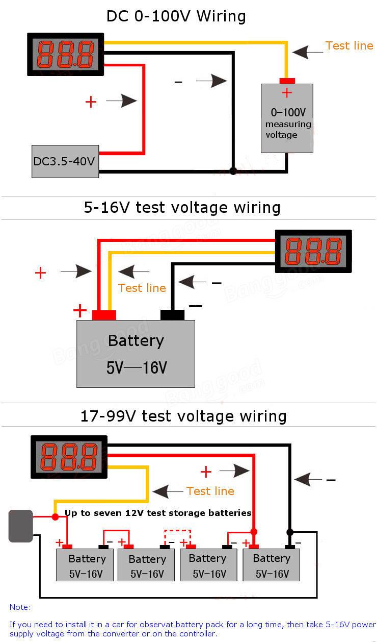 Wiring A Voltmeter : Inch dc v wire led voltmeter digital