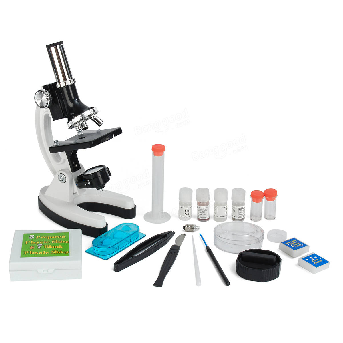 28Pcs Microscope Kit 300x 600x 1200x Magnification Educational Toy Gift for Kids