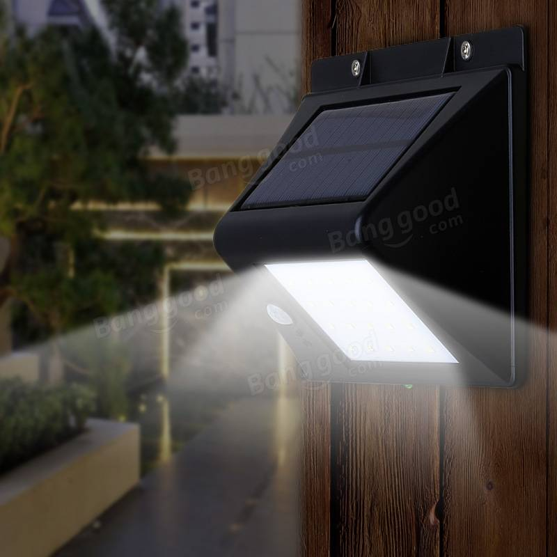 Solar power human body induction 20 led lamp garden for Low balcony wall