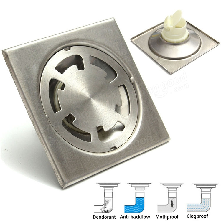 Bathroom Floor Drain Strainer : Bathroom square stainless steel floor drain water strainer