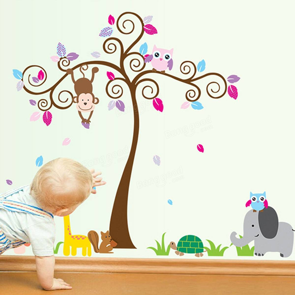 Kids children baby bedroom decoration jungle tree animal for Decoration porte bebe
