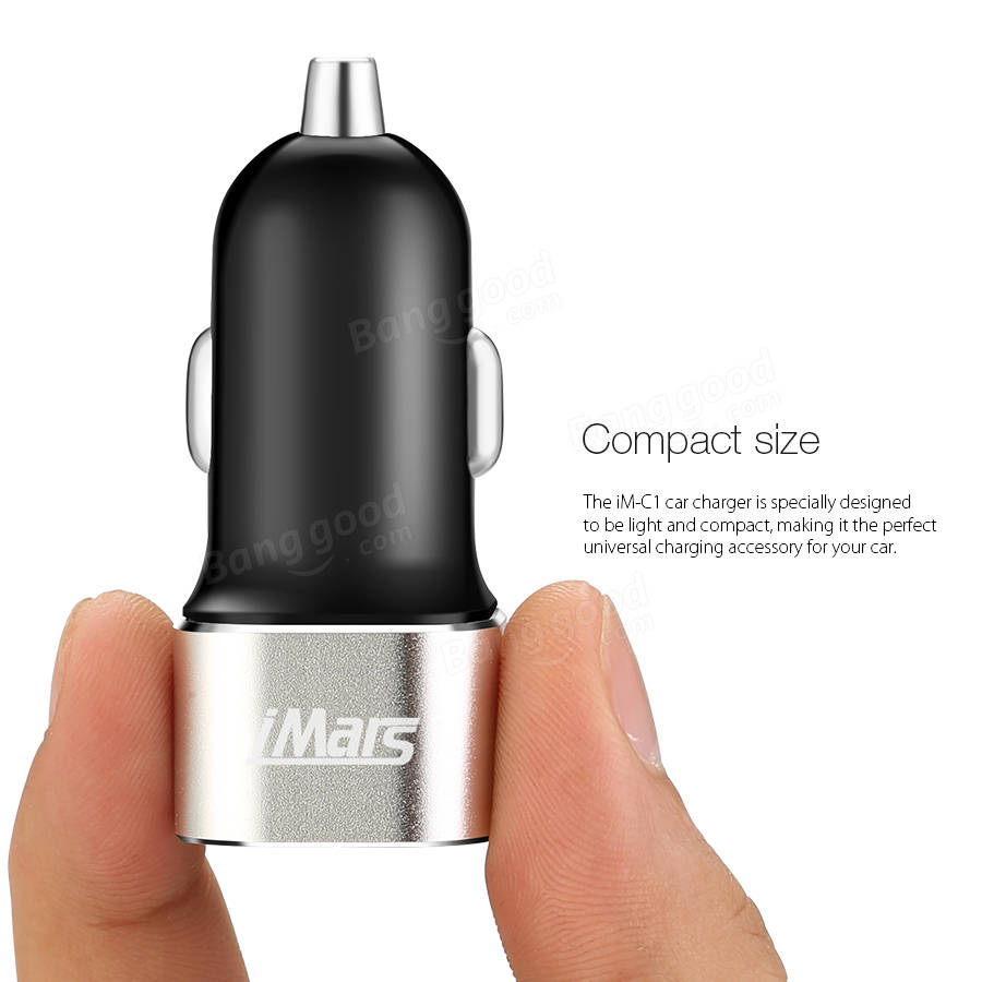 iMars™ iM-C1 24W Metal Dual USB Fast Car Charger 5V 2.4A Compatible with iPhone SE/6S/6S Plus/6/6 Plus/Galaxy S7 And More Devices