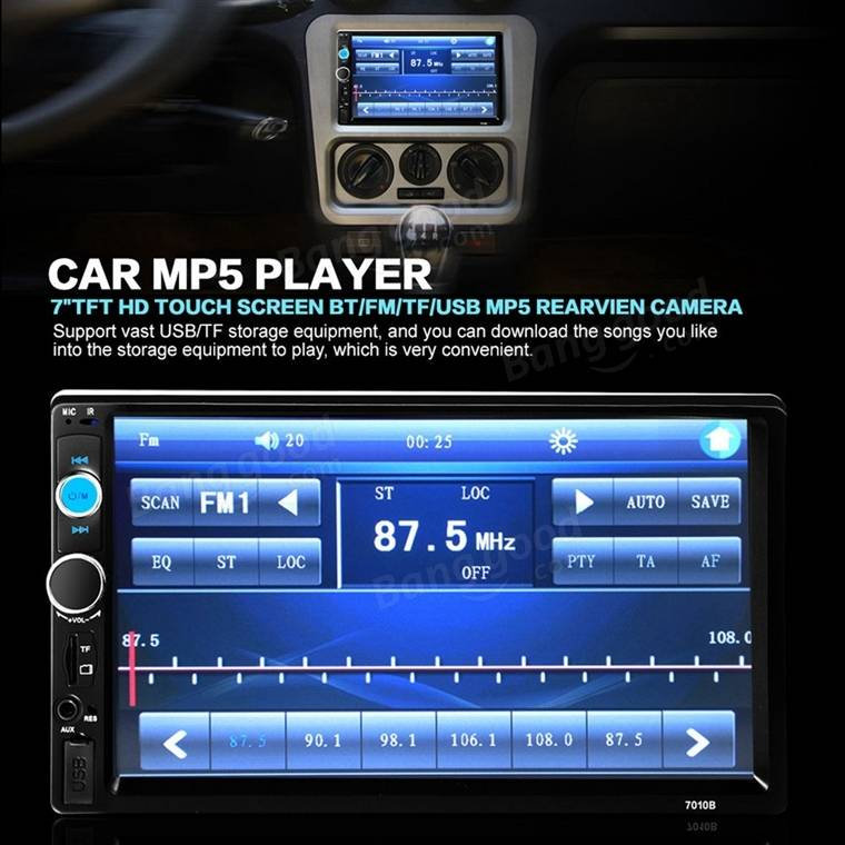 7 Inch Car Stereo Radio MP5 MP3 Player FM USB AUX Full HD Bluetooth Touch Screen Rear View Camera P 1059541 on touch screen radio with remote