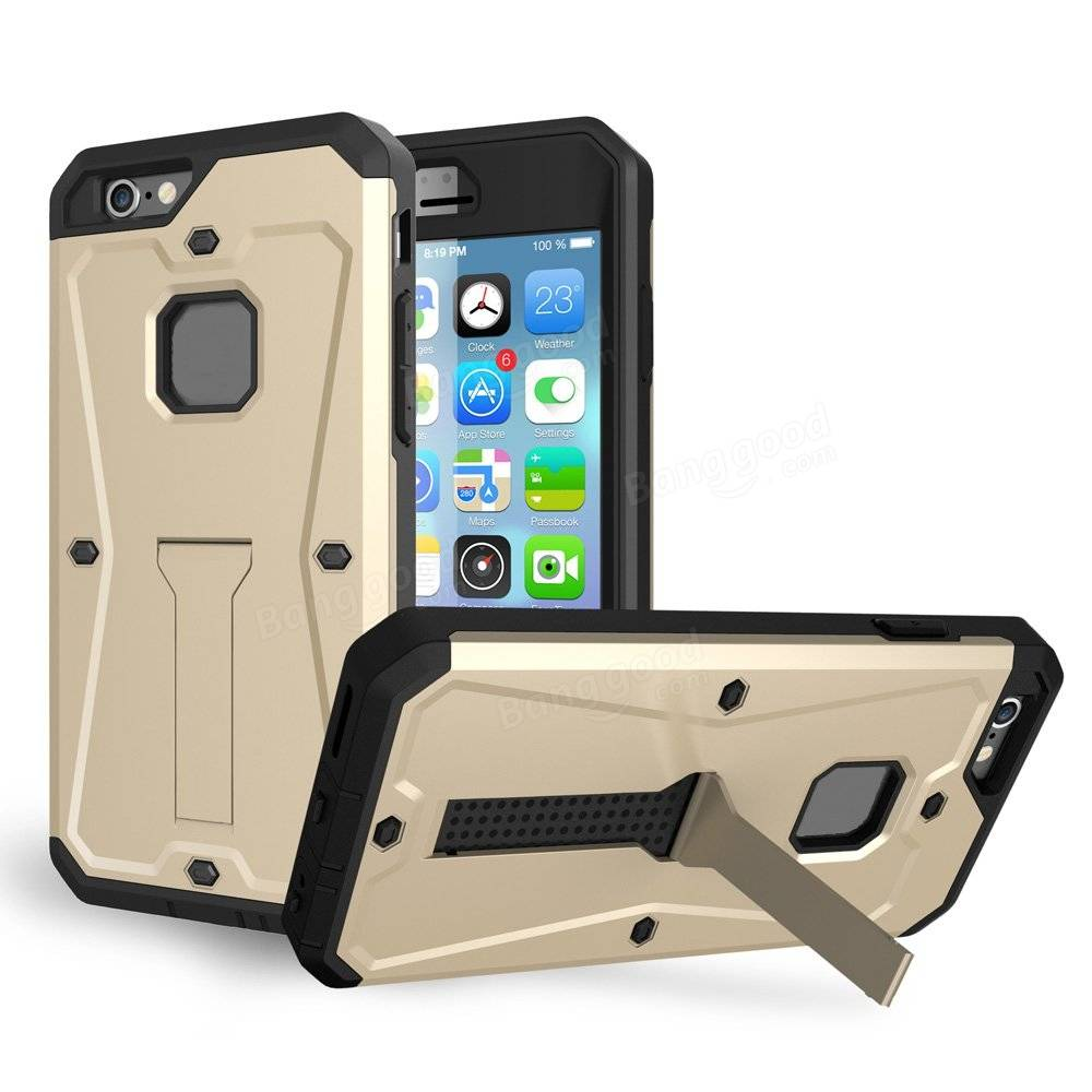 Triple Layer PC Stand Holder Screen Protector Combo Tank Case For iPhone 6 Plus 6S Plus 5.5 Inch