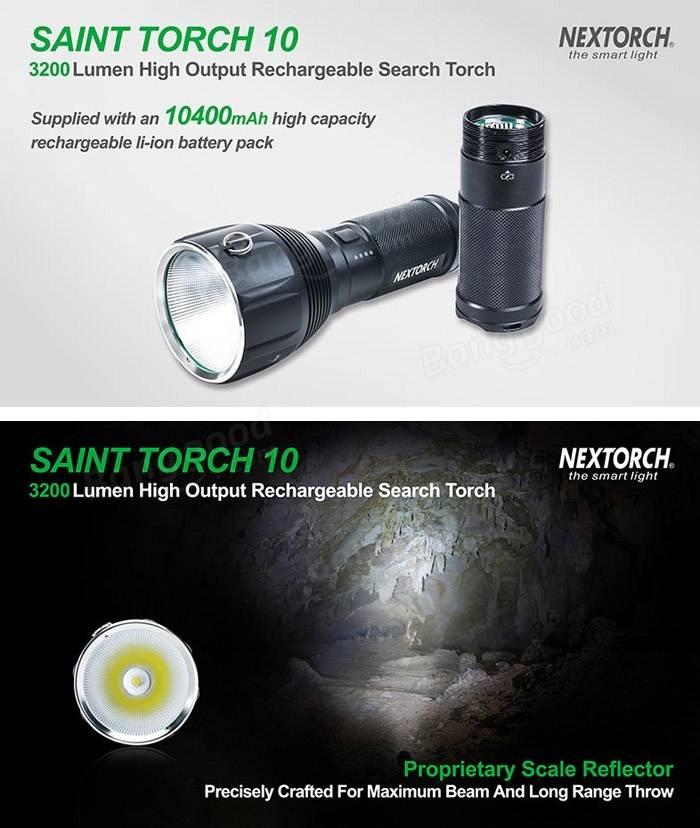 Nextorch SAINT TORCH 10 xhp70 3200lm 7-режим перезаряжаемая LED фонарик