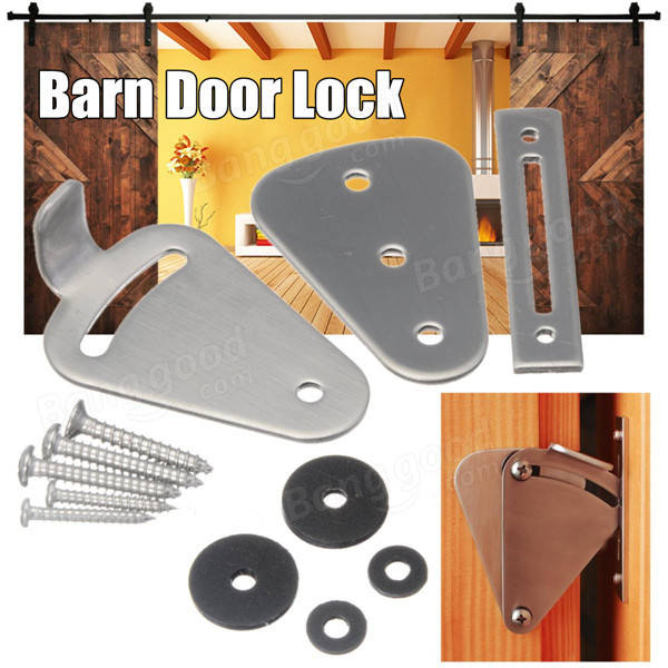 55x40x1.5mm Stainless Steel Barn Door Lock With Screws For Sliding Door