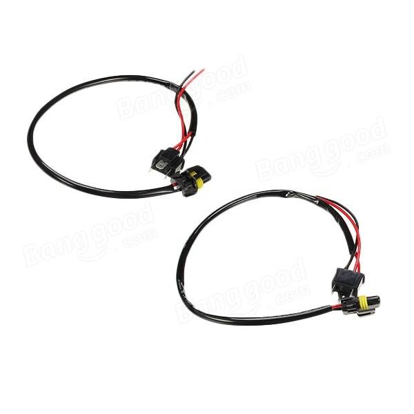 2pcs harness for h4 plug connector hid light adapter lamp
