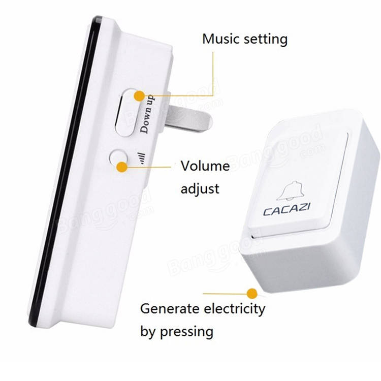 CACAZI 38 Tunes Wireless Cordless Waterproof Doorbell Remote Control Door Bell Chime No Need Battery