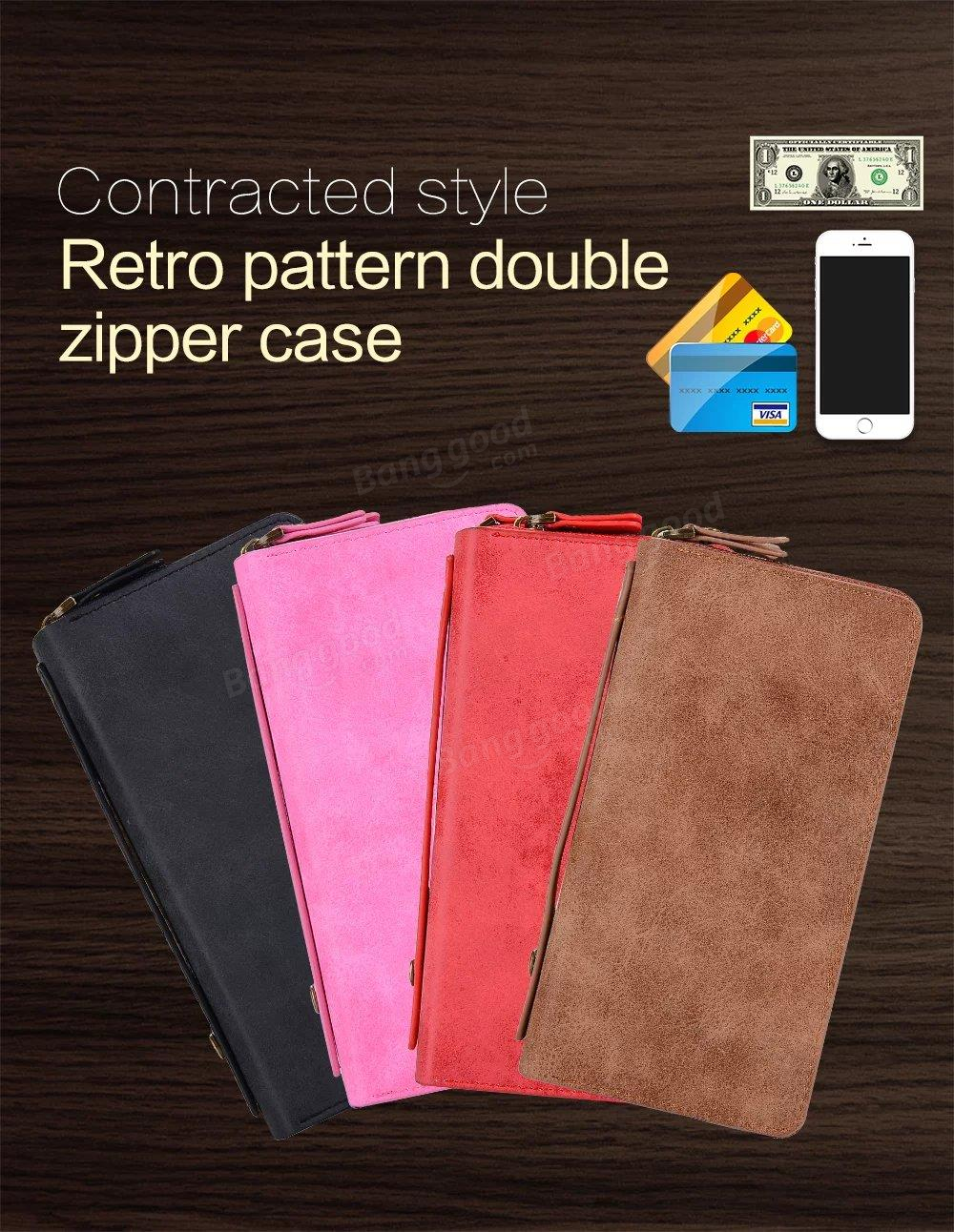 Multi-slots Double Zipper Split Leather Wallet Case Stylish Simplicity Cover Case For iPhone 6/6s