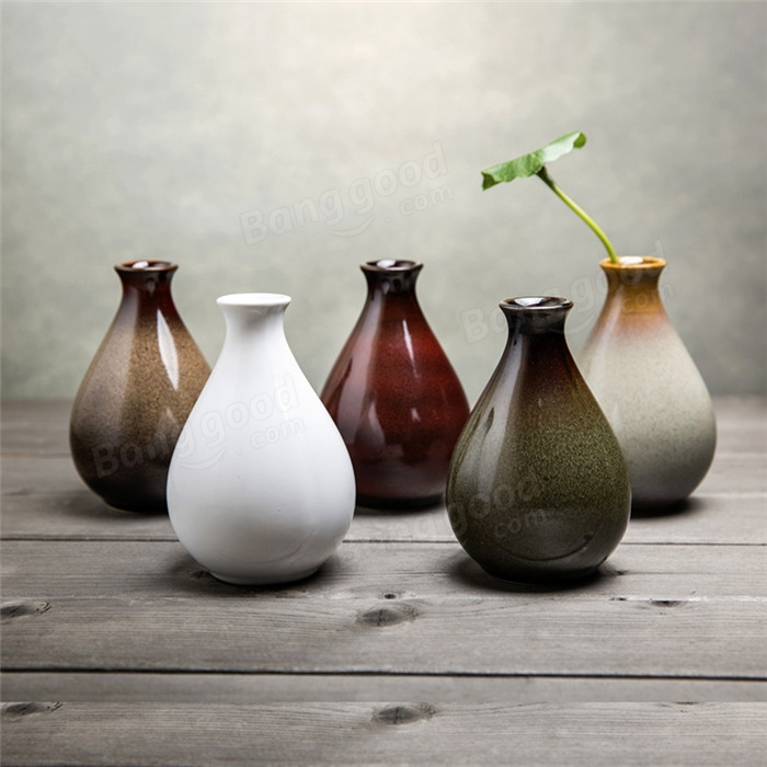 Ceramic Vase Flower Bottle Ceramic Ornaments Handmade Flower Arrangement Pottery Flambe Glazed