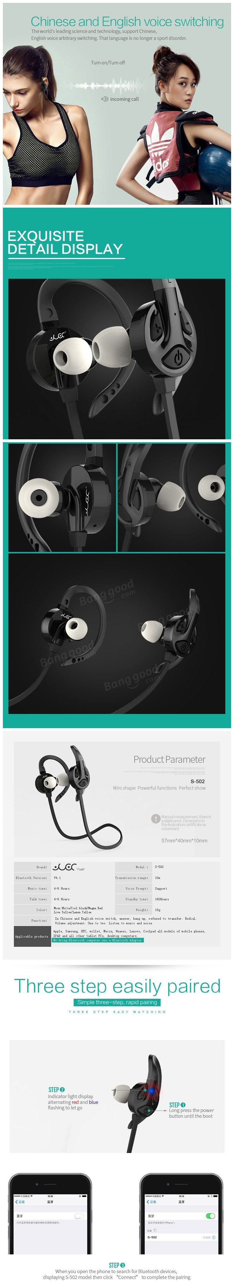 S-502 Bluetooth Earphone Stereo Wireless Sport Running Headphone Music Headset with Microphone