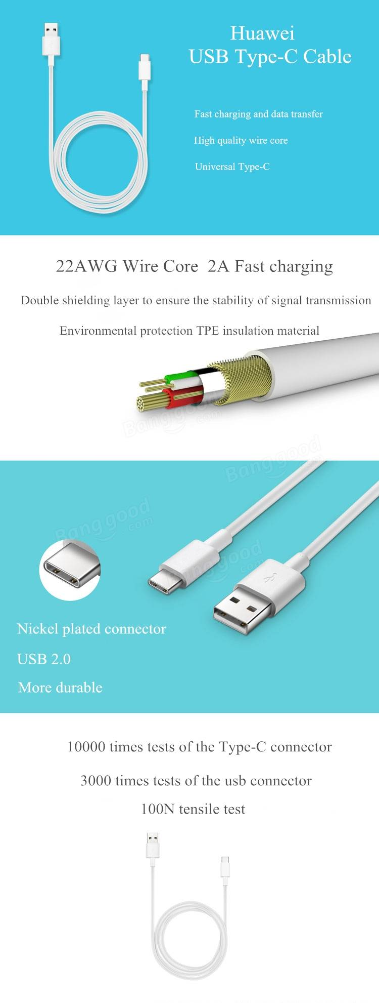 Original Huawei Reversible USB Type-C to USB 2A Charging Data Cable For Cellphone Tablet Huawei P9