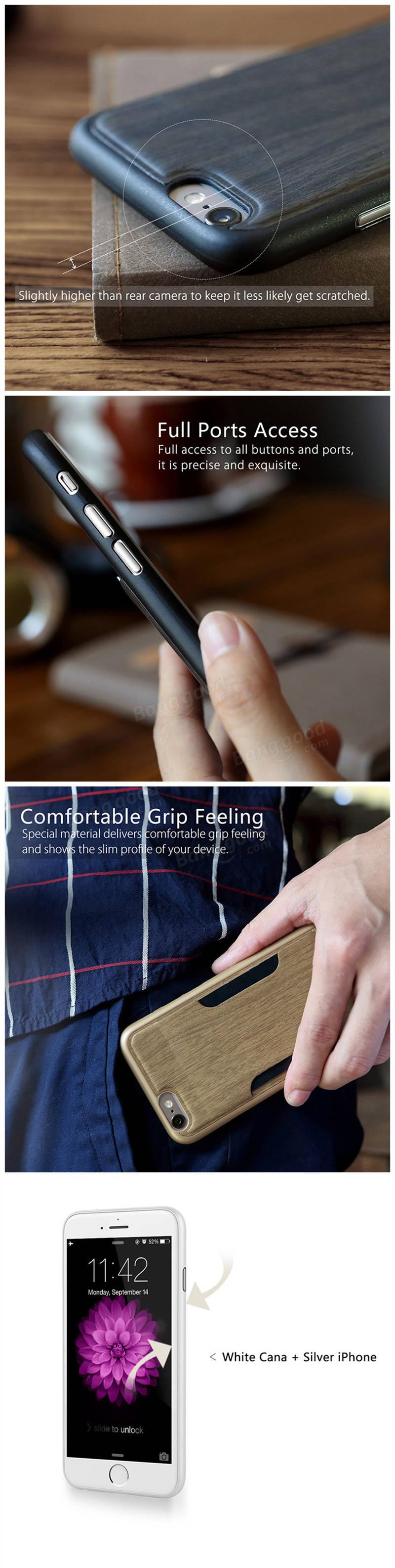 ROCK CanaシリーズウッドグレインレザースキンフォンバッグiPhone 6 6s Plusの縦型カードスロットケース