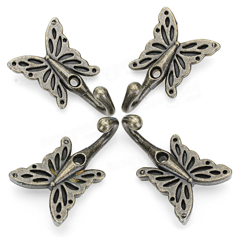 4pcs 35*56mm Antique Brass Butterfly Wall Hook Shirt Coat Hanger Vintage Style