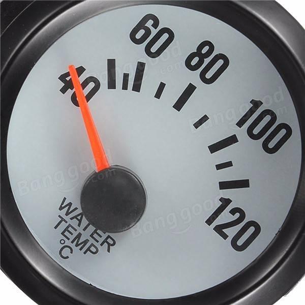 Universal Car Black Water Temp Celsius Gauge TACHO 40-120°C Blue Light 2 52mm