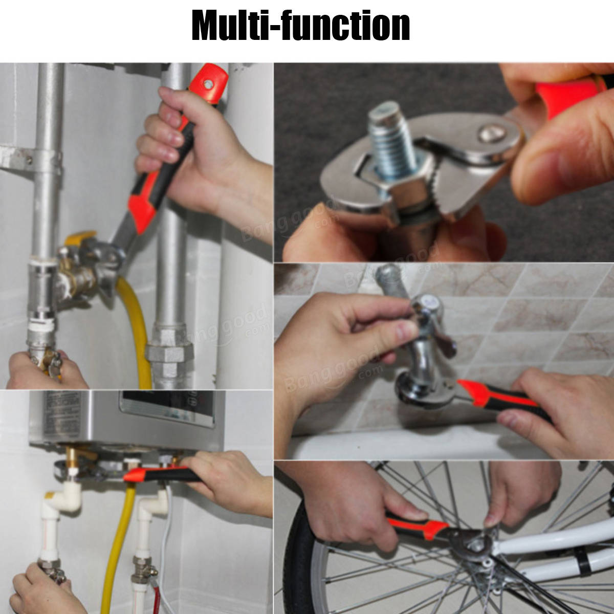 2Pcs 9-32mm Hook Shape Adjustable Pipe Wrench Steel Spanner Multi-function Tool